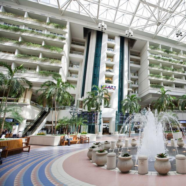 Orlando International Airport atrium outside of the airport Hyatt hotel