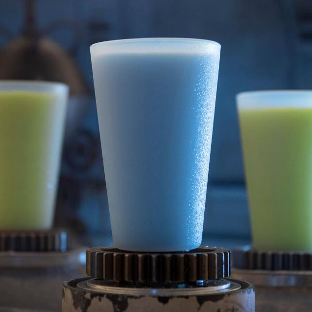 Innovative and creative drinks from around the galaxy will be available at Star Wars: Galaxy's Edge when it opens  May 31, 2019, at Disneyland Park in Anaheim, Calif., and Aug. 29, 2019, at Disney's Hollywood Studios in Lake Buena Vista, Fla. Blue Milk and Green Milk can be found in the Black Spire Outpost market inside Star Wars: Galaxy's Edge. (David Roark/Disney Parks)