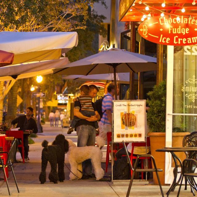 Shops and restaurants along the sidewalk on Park Avenue in Winter Park.