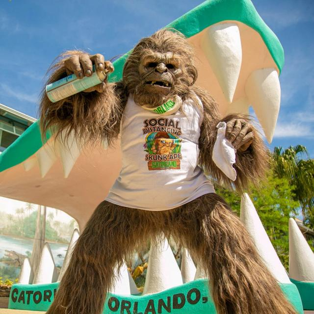 Gatorland social distancing skunk ape at the entrance