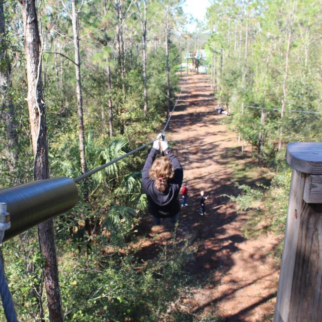 Women on a zip line at Orlando Tree Trek