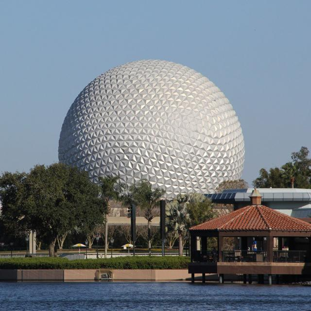 A view of Epcot from across the water as seen from the Walt Disney World Swan and Dolphin Resort