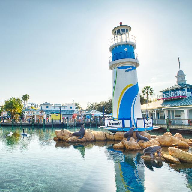 Lighthouse near the entrance of SeaWorld Orlando.
