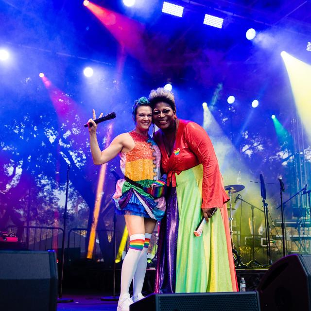 Come Out With Pride performers Blue Star and Darcel Stevens on the New Pride stage