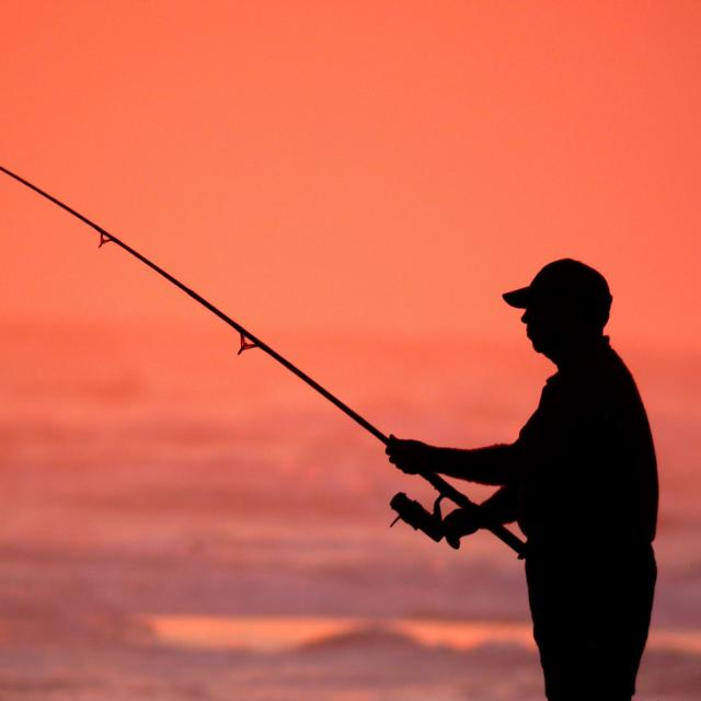 A silhouette of a man fishing.