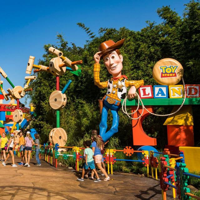 Guests at Disney's Hollywood Studios can go to infinity and beyond in Toy Story Land. The immersive 11-acre land takes guests into the adventurous outdoors of Andy's backyard, where they will feel like they are the size of Green Army Men surrounded by other toys. Guests can whoosh along on the family-friendly roller coaster, Slinky Dog Dash, take a spin aboard Alien Swirling Saucers and try for the high score on Toy Story Mania! (Matt Stroshane, photographer)