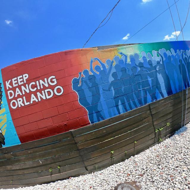 Orlando pride mural featuring Keep Dancing Orlando.