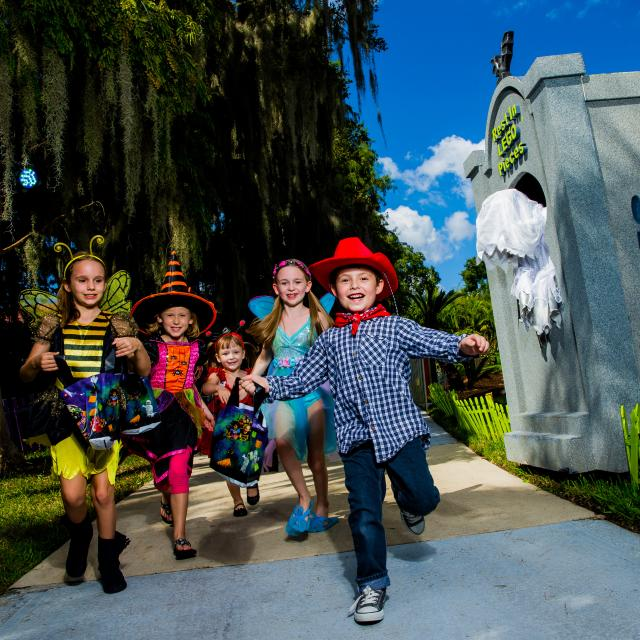 A group of children in Halloween costumes at Brick or Treat at LEGOLAND Florida Resort.