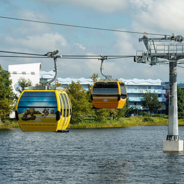 Disney Skyliner will begin carrying guests high above Walt Disney World Resort in Lake Buena Vista, Fla., on Sept. 29, 2019.The state-of-the-art transportation system will feature custom cabins that glide through the air, conveniently transporting guests between Disney's Hollywood Studios and Epcot to four resort hotels – Disney's Art of Animation Resort, Disney's Caribbean Beach Resort, Disney's Pop Century Resort and the new Disney's Riviera Resort, scheduled to open in December 2019.
