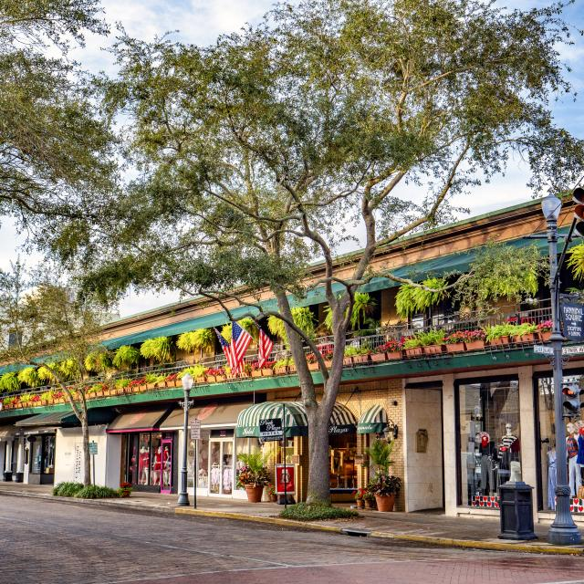 Storefronts along Park Avenue in Winter Park