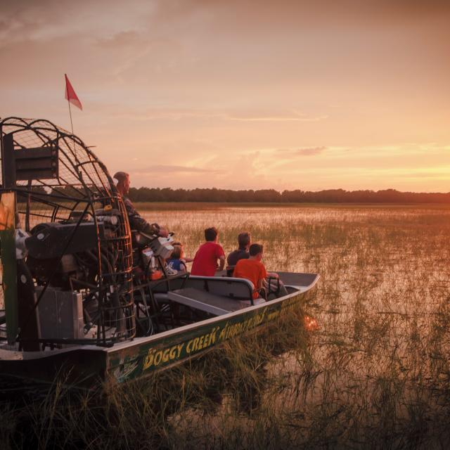 sunset airboat tour at Boggy Creek