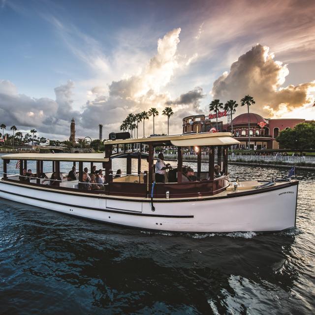 Universal's CityWalk at Universal Orlando Resort water taxi in lagoon