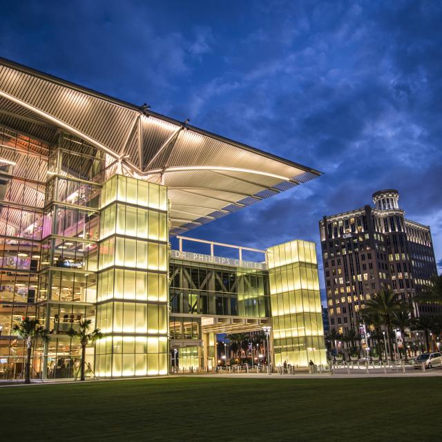 Dr. Phillips Center for the Performing Arts exterior and South Street