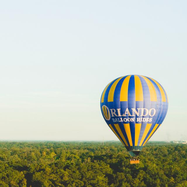 A balloon from Orlando Balloon Rides hovers over the tree tops.