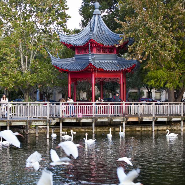 A Chinese gazebo on Lake Eola in downtown Orlando