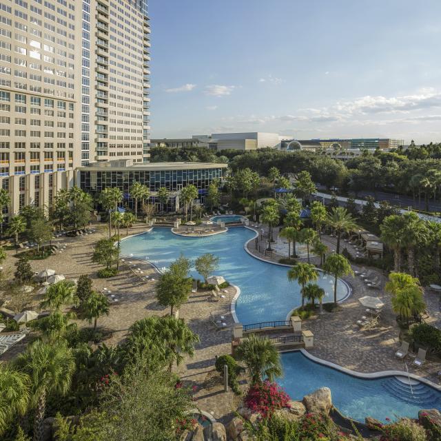 Hyatt Regency Orlando aerial view of the hotel and swimming pool