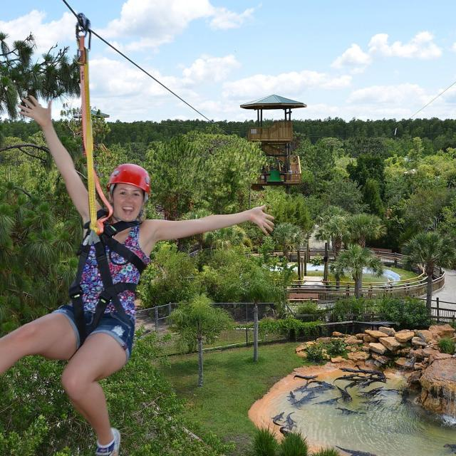 woman on the Screamin' Gator Zip Line at Gatorland