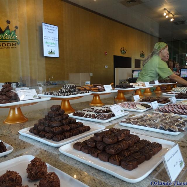 A sampling of chocolate on display in the store at Chocolate Kingdom