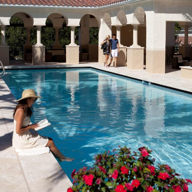 The Alfond Inn reading by pool