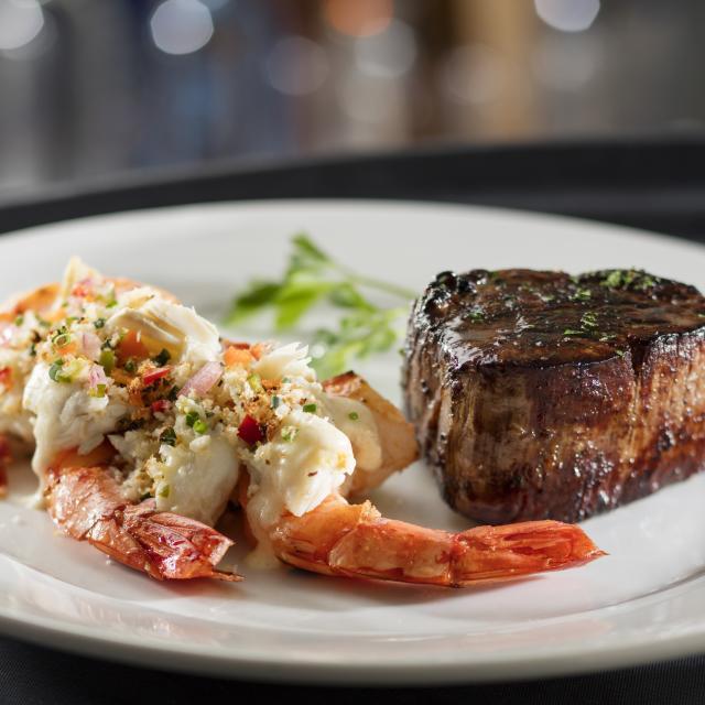 Eddie V's Prime Seafood filet and crab stuffed shrimp