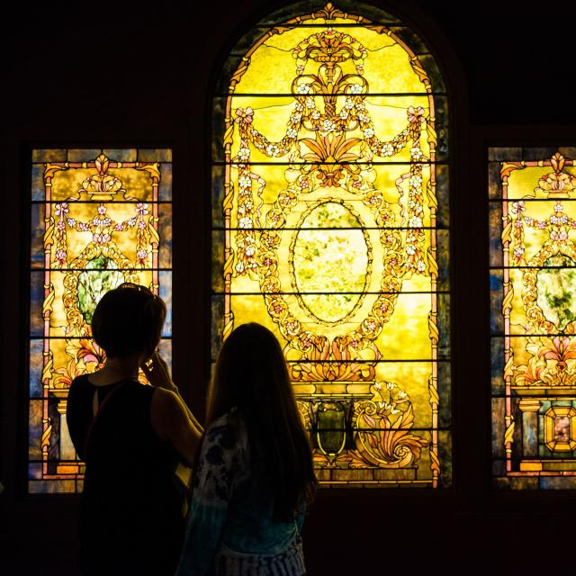 The Charles Hosmer Morse Museum of American Art gazing at stained glass window
