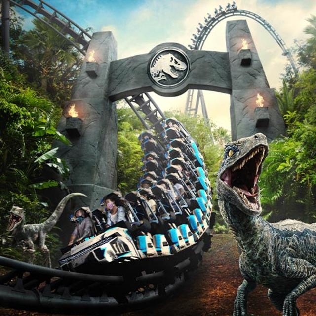 An artist rendering of VelociCoaster roller coaster at Universal's Islands of Adventure.