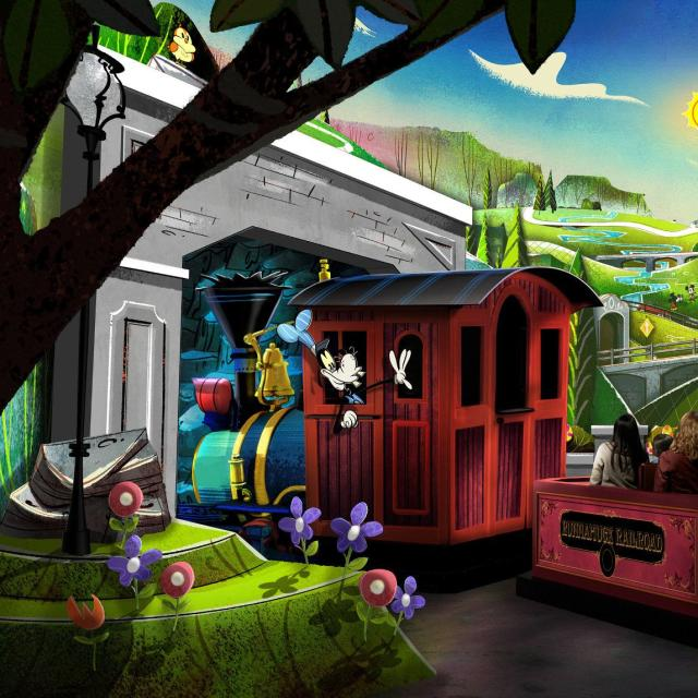 At Mickey & Minnie's Runaway Railway in Disney's Hollywood Studios guests will burst through movie screen and join Mickey Mouse, Minnie Mouse and pals on a wacky adventure. The first ride-through attraction themed to Mickey Mouse and Minnie Mouse is planned to open in spring 2020 at Walt Disney World Resort in Lake Buena Vista, Fla. (Disney)