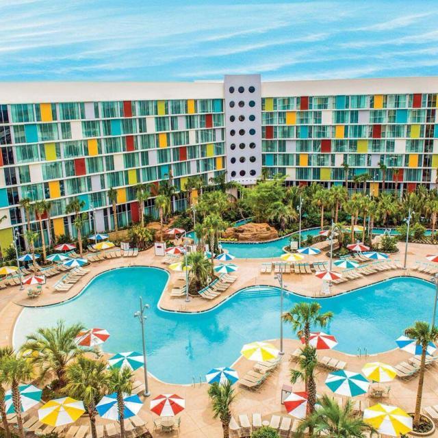 Universal's Cabana Bay Beach Resort exterior and pool