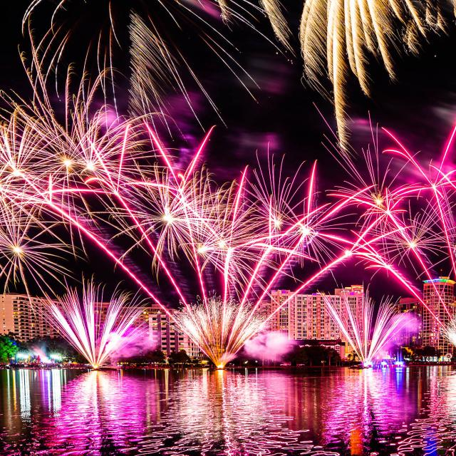 Come Out With Pride festival fireworks over Lake Eola