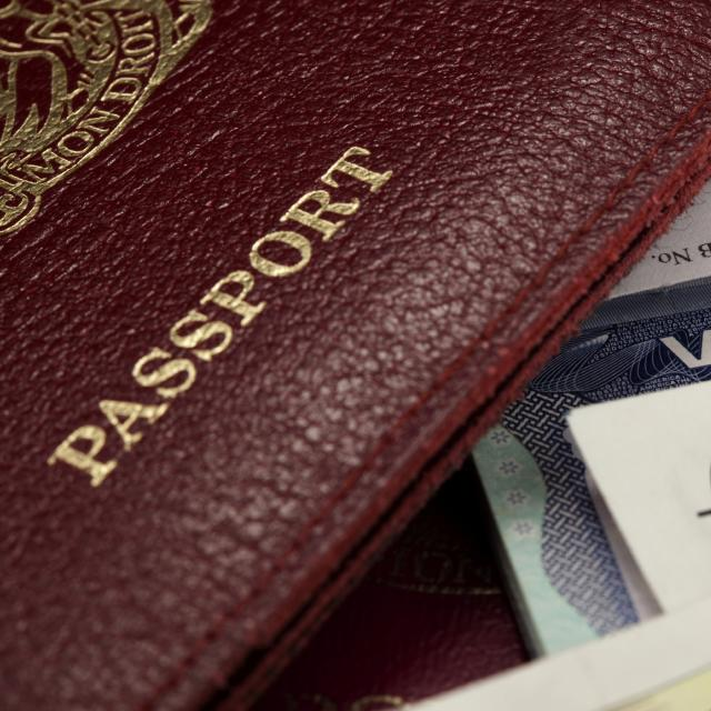 A passport, visa and currency