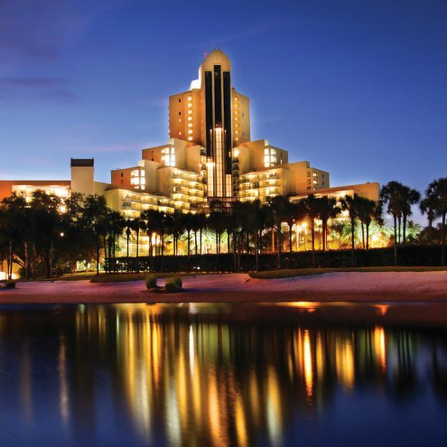 Orlando World Center Marriott hotel exterior at night