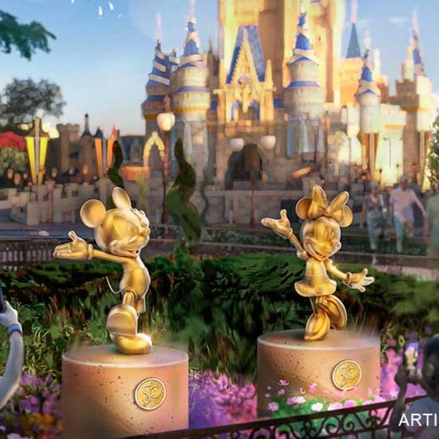 An artist rendering of the Disney Fab 50 Character Collection during The World's Most Magical Celebration at Magic Kingdom Park
