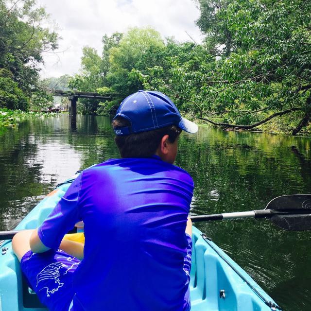 Miriam Porter, writer, and son, Noah kayaking