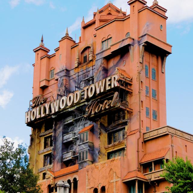 A view of the exterior of The Twilight Zone Tower of Terror ride at Disney's Hollywood Studios