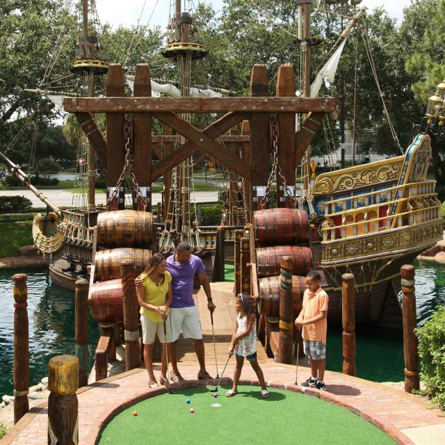 Pirate's Cove Adventure Golf - International Drive family and ship