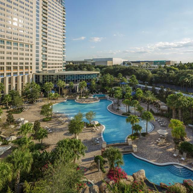 Hyatt Regency Orlando aerial view of the hotel and swimming pool