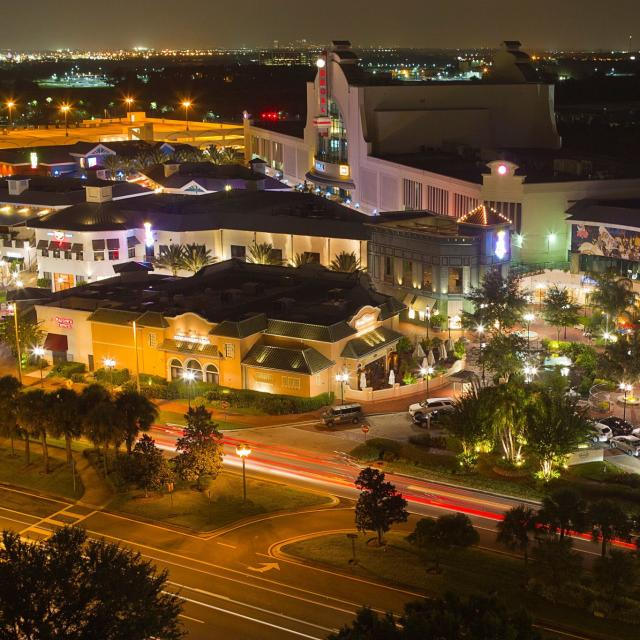 aerial view of shops at Pointe Orlando on International Drive at night