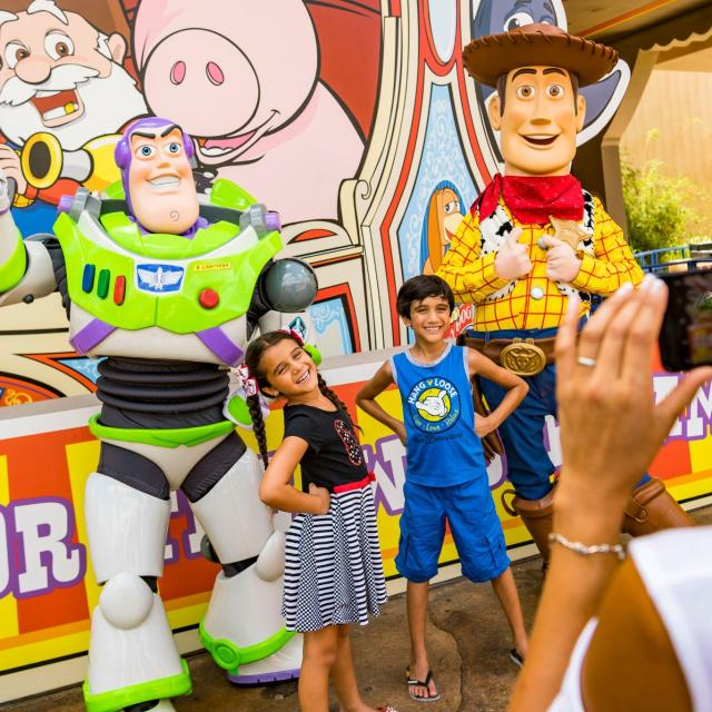Buzz Lightyear and Woody at Toy Story Land at Disney's Hollywood Studios.