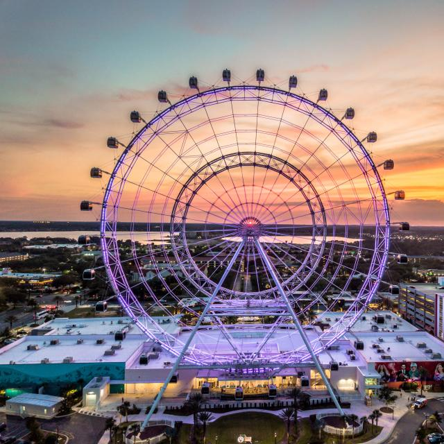 The Wheel at ICON Park with the Orlando Starflyer in the background