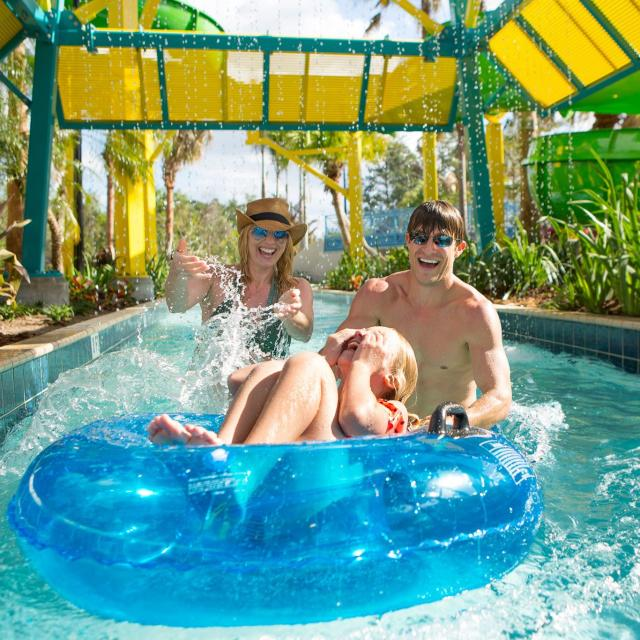 The Grove Resort family in lazy river