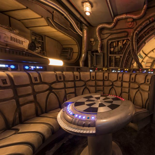 """The famous """"chess room"""" is one of several areas Disney guests will discover inside Millennium Falcon: Smugglers Run at Star Wars: Galaxy's Edge before taking the controls in one of three unique and critical roles aboard the fastest ship in the galaxy. Star Wars: Galaxy's Edge will open May 31, 2019, at Disneyland Resort in California and Aug. 29, 2019, at Walt Disney World Resort in Florida. (Joshua Sudock/Disney Parks)"""