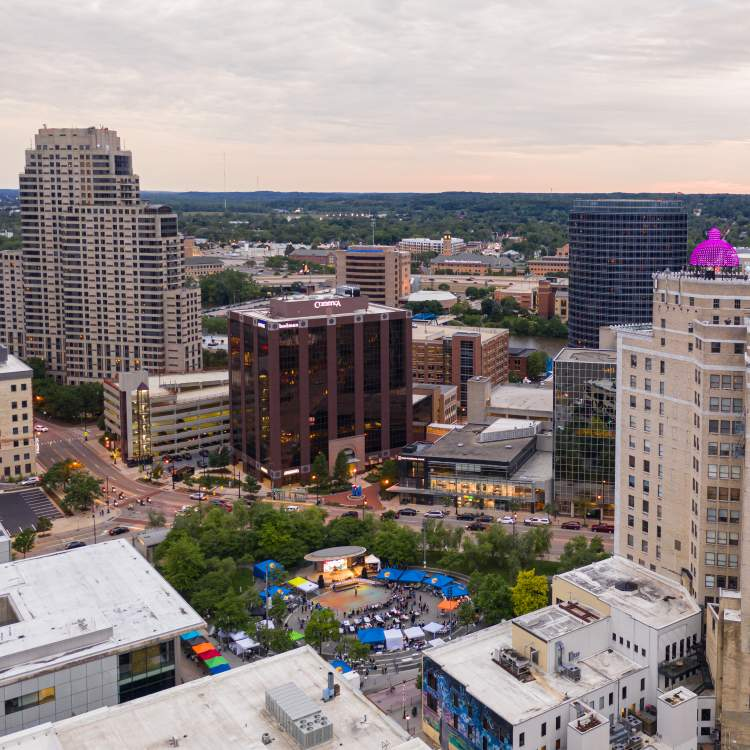 Aerial view of Downtown Grand Rapids during a summer festival