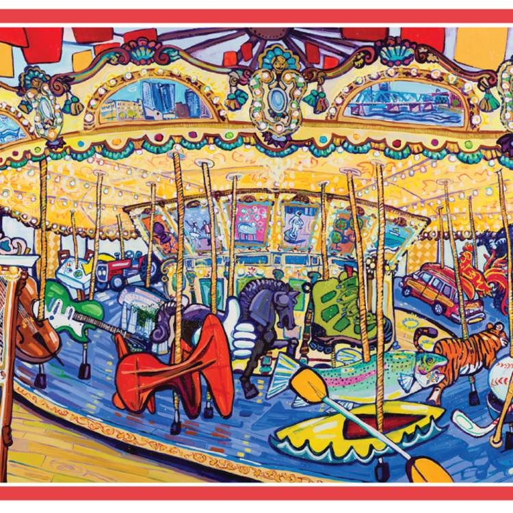 Carousel artwork of different Grand Rapids Attractions and Activities