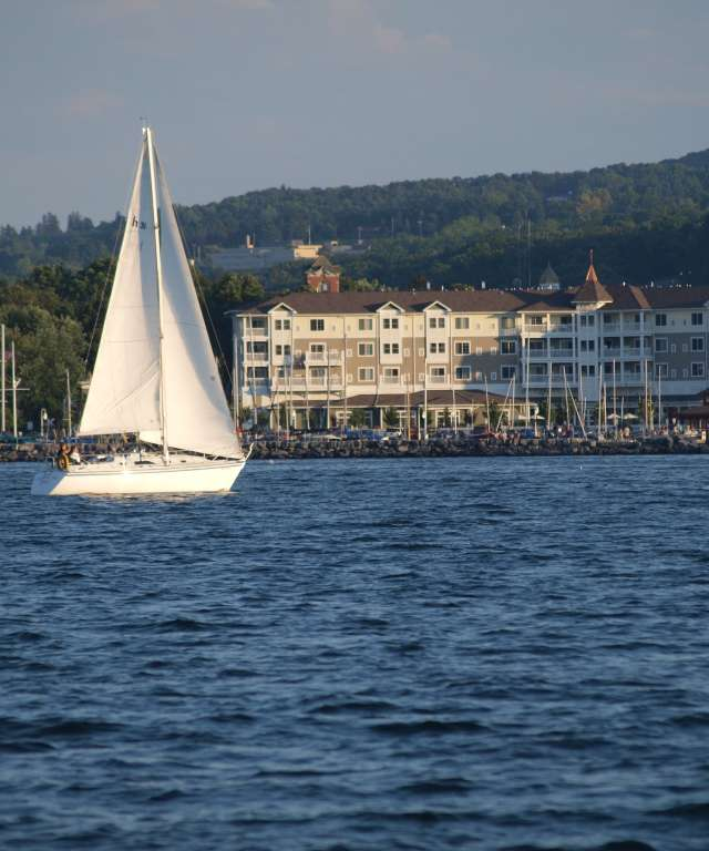 Sailboat in Front of Resort