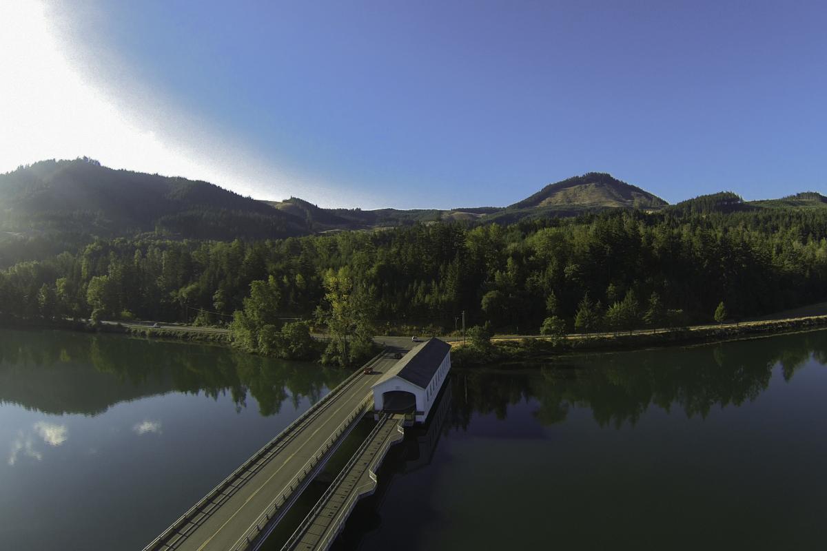 Lowell Covered Bridge at Dexter Reservoir