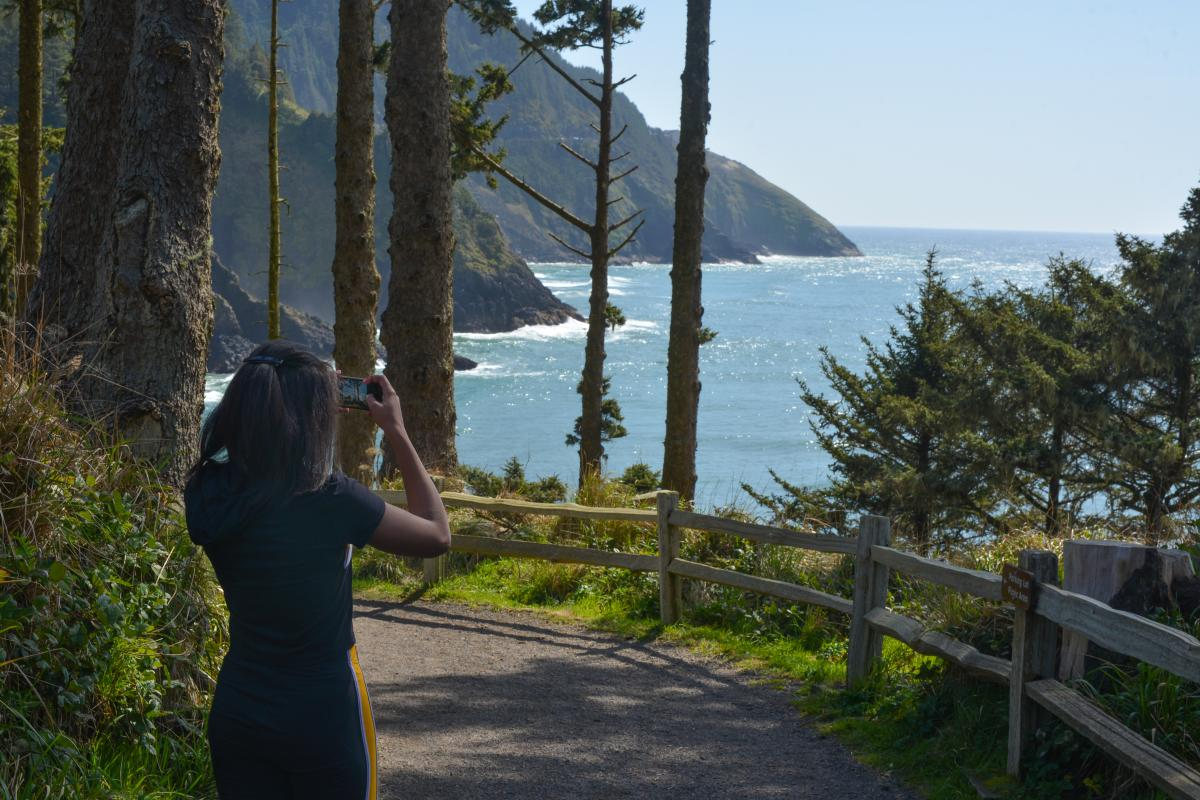 A girl takes an iphone photo of the coastline through trees.