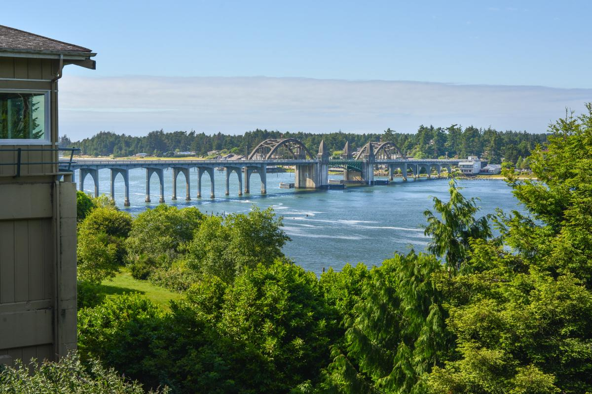 A view showing the historic Siuslaw Bridge over the Siuslaw River.