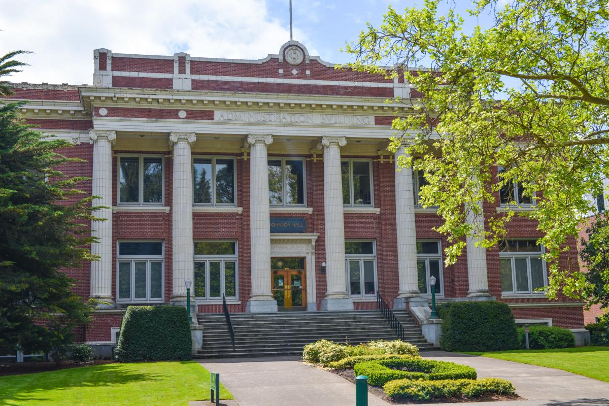 Johnson Hall University of Oregon campus by Melanie Griffin