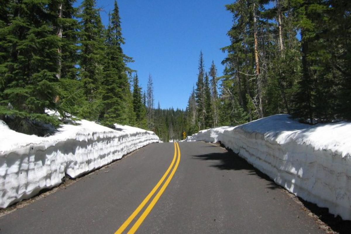 Hwy 242 in snow, open for bikes by Cari Soong