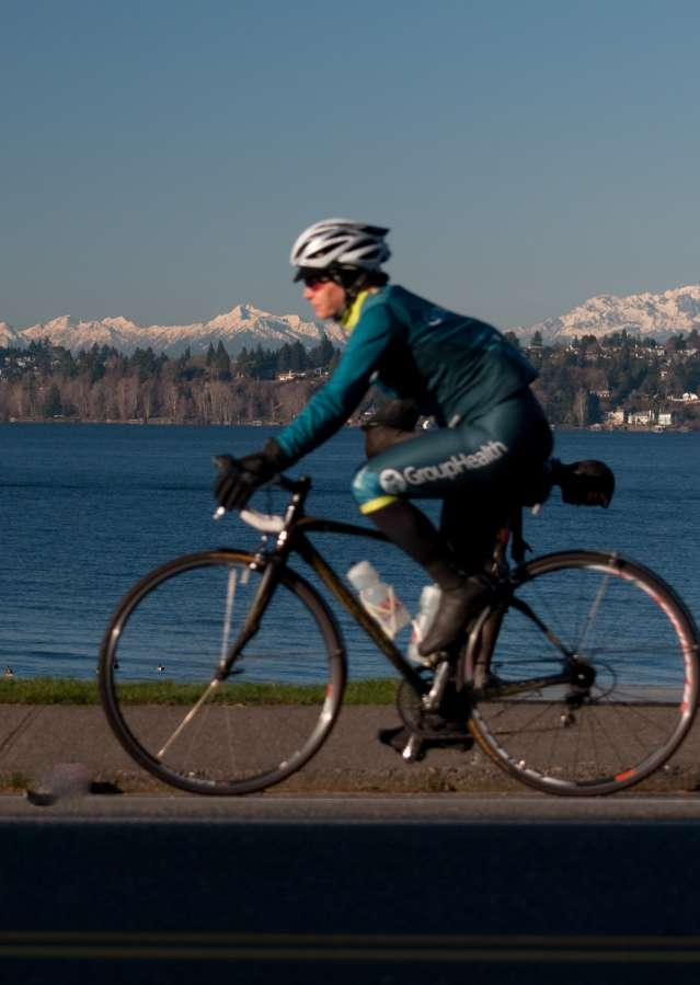 Mountain bike with views of the Olympic Mountains